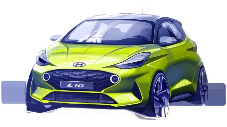 Prima schiță a viitorului Hyundai i10, departe de detaliile modelului de serie