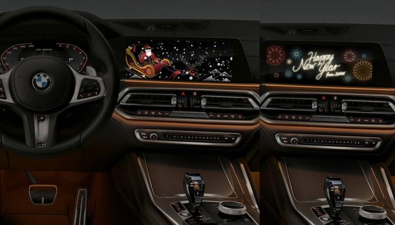 """Mașinile BMW pornesc la colindat: """"Crăciun Fericit!"""" și """"An Nou Fericit!"""" pe ecranul central"""